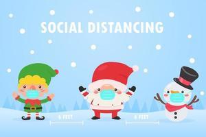 Elf, Santa, and snowman wear masks to prevent coronavirus vector