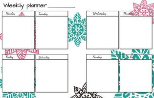 Weekly planner with Flower Mandala. vector