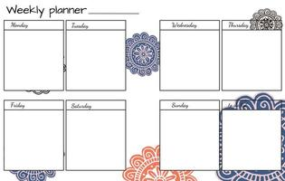 Weekly planner with Flower Mandala.