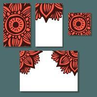 Flower hand drawn mandala wedding invitations set