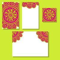 Flower mandala wedding invitations set in hand drawn style