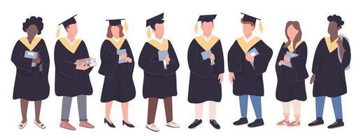 conjunto de personajes de graduados universitarios vector