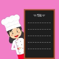 chef mujer con plantilla de menú vector