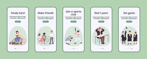 Student experience onboarding mobile app vector