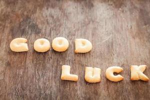 Close-up of good luck alphabet biscuits