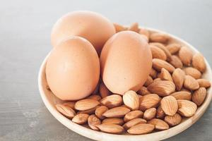 Almond nuts and eggs photo