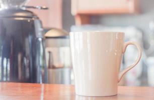 White coffee mug in a cafe