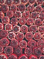 Top view of pomegranates