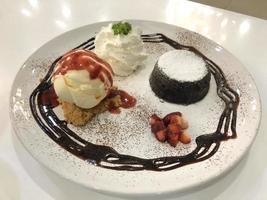 Chocolate lava cake with vanilla ice cream photo