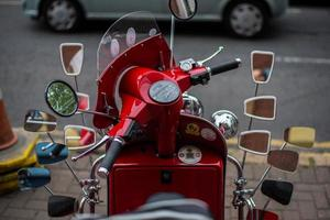 Belfast, UK, 2020 - Close-up of a red motorcycle with lots of mirrors on it