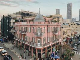 Tel Aviv-Yafo, Israel, 2020 - Aerial photo of a pink building
