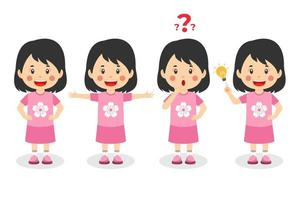 Happy Cute Kid Girl With Different Poses vector