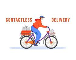 Contactless delivery man riding bike