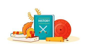 libros de historia y suministros vector