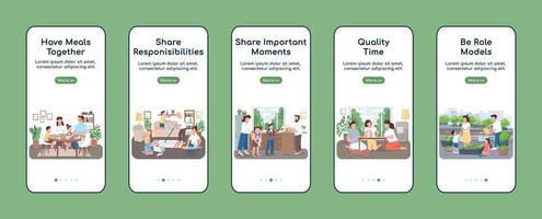 Family routine onboarding mobile app vector