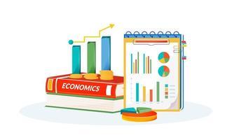 Economics books and graphs vector