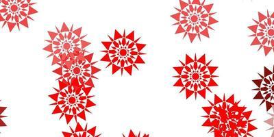 Telón de fondo de copos de nieve hermoso rojo claro con flores.