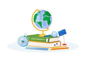 Geography supplies and books vector