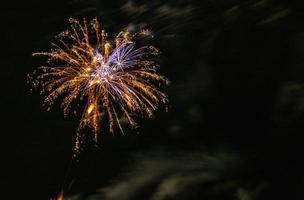 Orange and blue fireworks