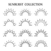 colección de rayos de sol de arte de línea negra vector