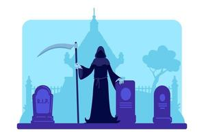 Grim reaper with scythe at cemetery