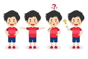 Happy Cute Kid Boy With Different Poses vector