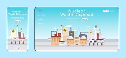 página de destino adaptable de eliminación de residuos nucleares vector