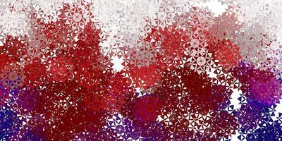 Telón de fondo de copos de nieve hermoso rojo claro con flores. vector