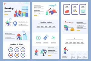 Booking service flat landing page. vector