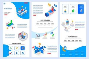 Call center isometric landing page. vector