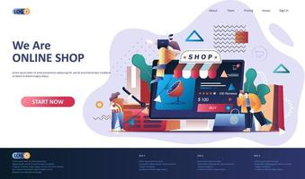 Online shopping flat landing page template. vector