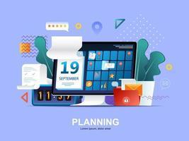 planificación de concepto plano con gradientes. vector