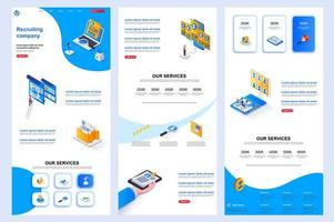 Recruiting company isometric landing page. vector
