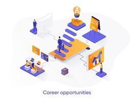 Banner de web isométrico de oportunidades de carrera. vector
