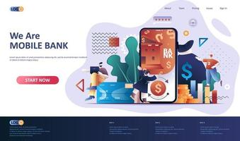 Mobile banking flat landing page template. vector