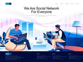 somos una red social para todos la página de aterrizaje isométrica. vector