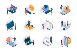 Online education isometric icons set vector