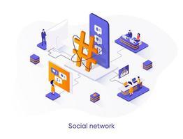 Social network isometric web banner. vector