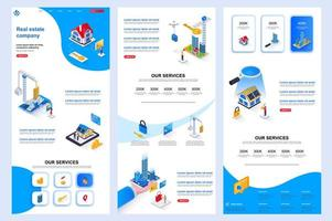 Real estate company isometric landing page. vector