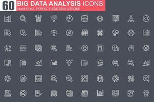 conjunto de iconos de línea fina de análisis de datos grandes. vector