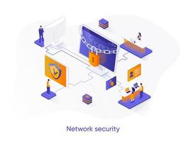Network security isometric web banner.