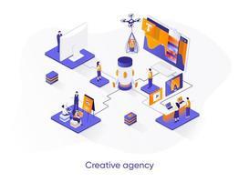 Creative agency isometric web banner.