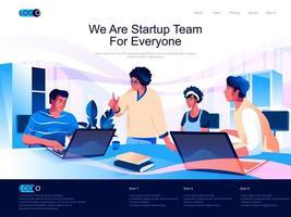 somos un equipo de inicio para todos la página de destino isométrica. vector