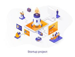 Startup project isometric web banner. vector