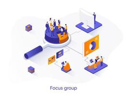 Focus group isometric web banner. vector