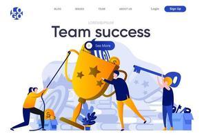 Team success flat landing page vector