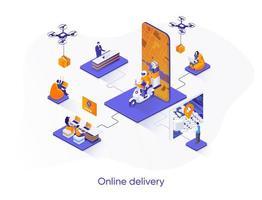 banner web isométrico de entrega en línea. vector