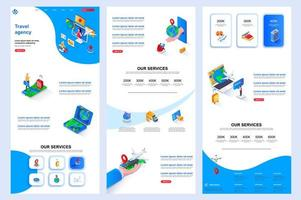 Travel agency isometric landing page. vector