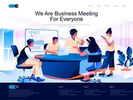 somos una reunión de negocios para todos la página de destino isométrica. vector