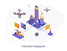 Futuristic megapolis isometric web banner.